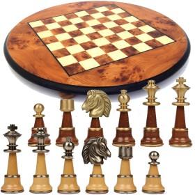 Prestigiosa scacchiera in radica di olmo rotonda e Scacchi in legno e ottone massiccio -18181-18175