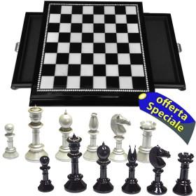 Scacchiera e scacchi decorati con Strass di cristallo di boemia-18469-18470