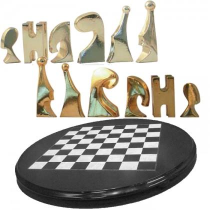 Scacchiera rotonda diametro 53 cm e scacchi moderni argentati e dorati.18472-18471