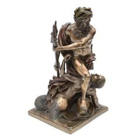 Statua Nettuno che calma le onde in resina bronzata 24177