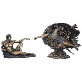 Creazione dell'uomo di Michelangelo in resina bronzata   24557