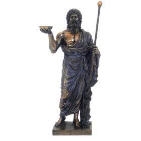 Statua in resina bronzata raffigurante Esculapio, Dio della medicina.24625