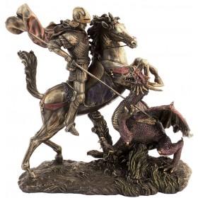 San Giorgio con drago in resina bronzata   24554