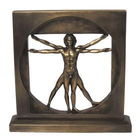Uomo vitruviano Leonardo Da Vinci in resina bronzata. 24560