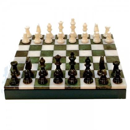 Scacchiera completa di scacchie pedine in alabastro-18244